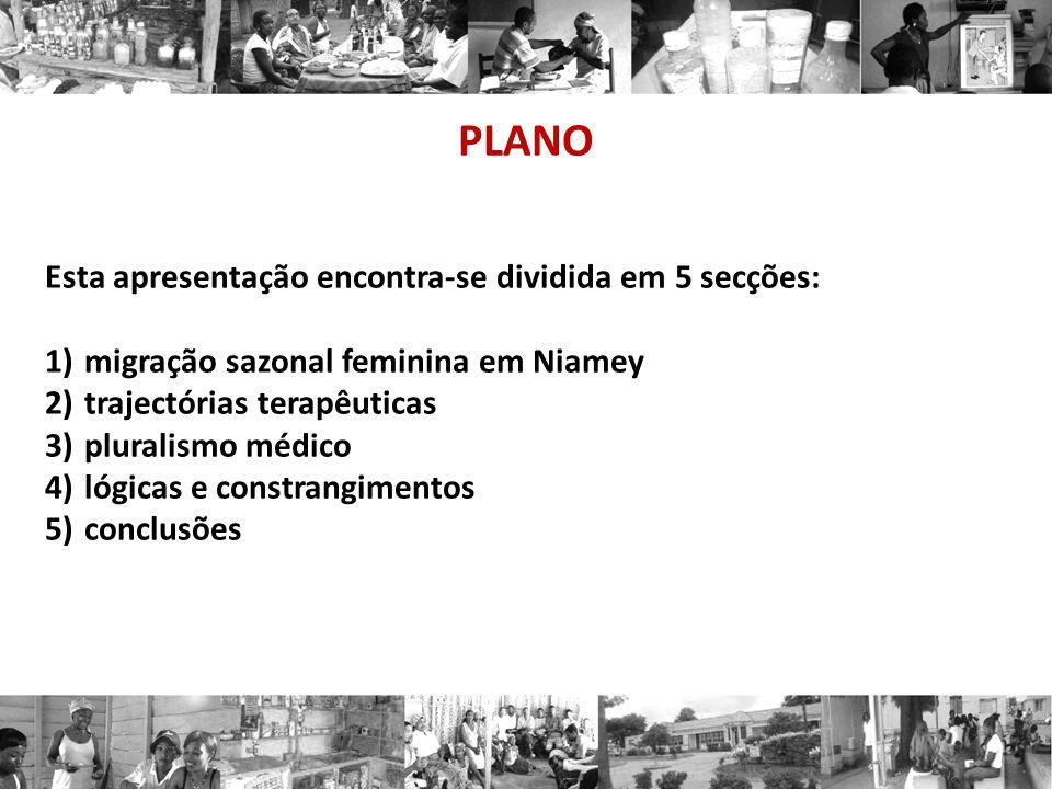 PLANO Esta apresentação encontra-se dividida em 5 secções: 1)migração sazonal feminina em Niamey 2)trajectórias terapêuticas 3)pluralismo médico 4)lógicas e constrangimentos 5)conclusões