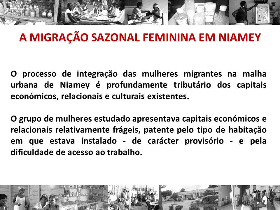 A MIGRAÇÃO SAZONAL FEMININA EM NIAMEY O processo de integração das mulheres migrantes na malha urbana de Niamey é profundamente tributário dos capitais económicos, relacionais e culturais existentes.