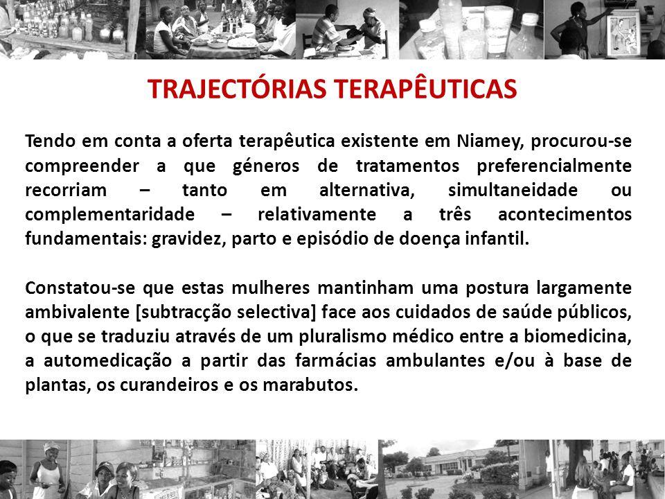 TRAJECTÓRIAS TERAPÊUTICAS Tendo em conta a oferta terapêutica existente em Niamey, procurou-se compreender a que géneros de tratamentos preferencialme