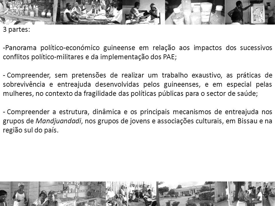 3 partes: -Panorama político-económico guineense em relação aos impactos dos sucessivos conflitos político-militares e da implementação dos PAE; - Com