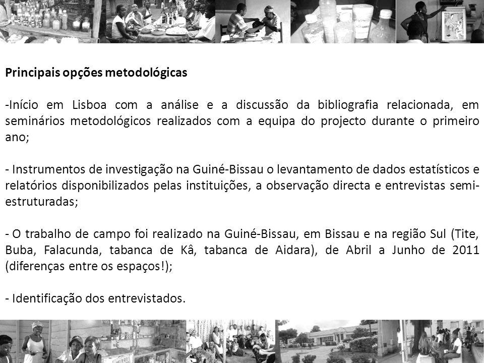 Principais opções metodológicas -Início em Lisboa com a análise e a discussão da bibliografia relacionada, em seminários metodológicos realizados com