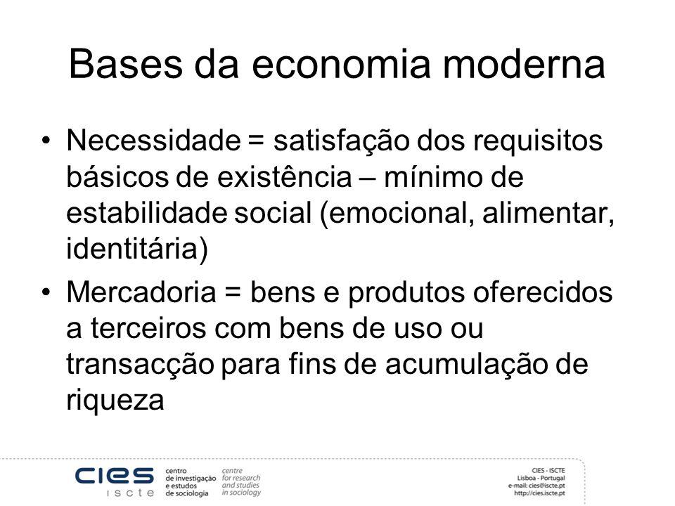 Bases da economia moderna Necessidade = satisfação dos requisitos básicos de existência – mínimo de estabilidade social (emocional, alimentar, identitária) Mercadoria = bens e produtos oferecidos a terceiros com bens de uso ou transacção para fins de acumulação de riqueza