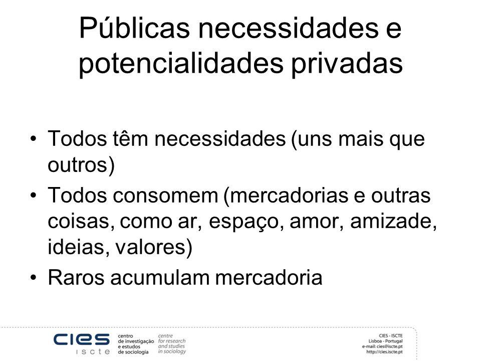 Públicas necessidades e potencialidades privadas Todos têm necessidades (uns mais que outros) Todos consomem (mercadorias e outras coisas, como ar, espaço, amor, amizade, ideias, valores) Raros acumulam mercadoria