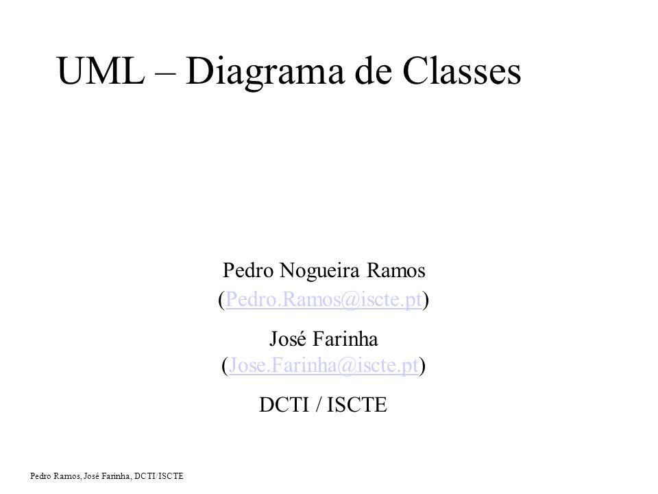 Pedro Ramos, José Farinha, DCTI/ISCTE UML – Diagrama de Classes Pedro Nogueira Ramos (Pedro.Ramos@iscte.pt)Pedro.Ramos@iscte.pt José Farinha (Jose.Farinha@iscte.pt)Jose.Farinha@iscte.pt DCTI / ISCTE