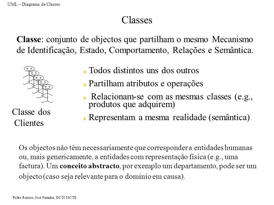 Pedro Ramos, José Farinha, DCTI/ISCTE Classes UML – Diagrama de Classes Classe: conjunto de objectos que partilham o mesmo Mecanismo de Identificação, Estado, Comportamento, Relações e Semântica.