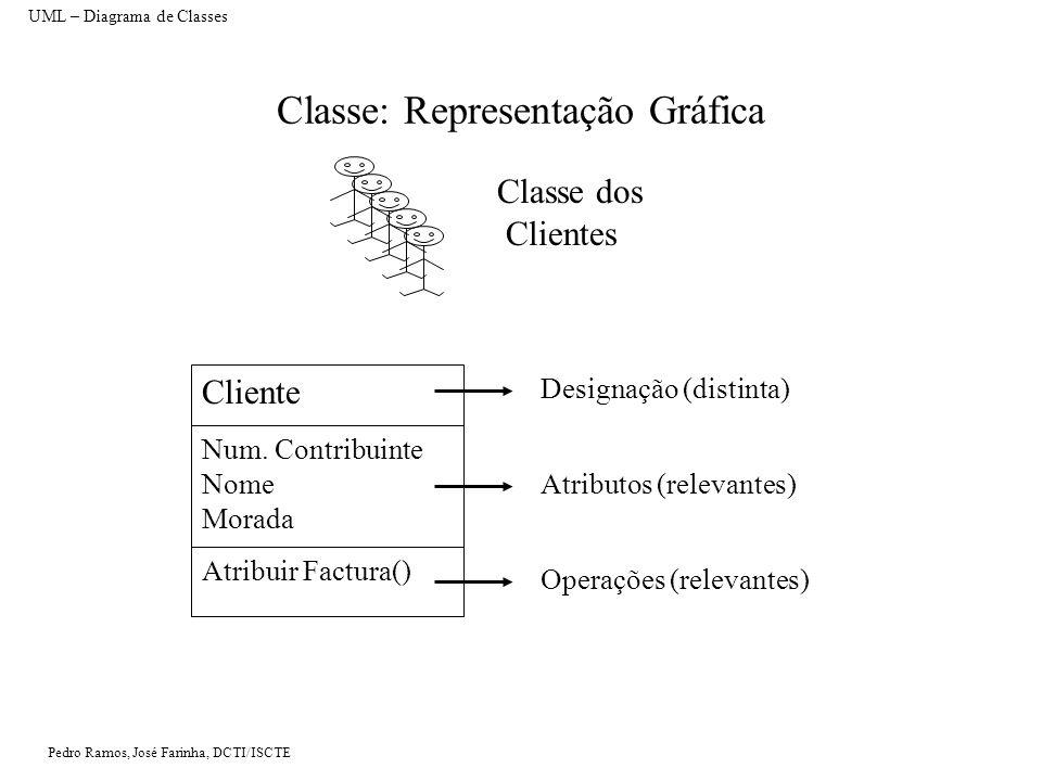 Pedro Ramos, José Farinha, DCTI/ISCTE Atributos Um atributo numa classe representa uma característica típica dos objectos dessa classe e pode assumir qualquer valor Pode especificar-se um tipo de dados para um atributo Neste caso, os valores que podem ser atribuídos ao atributo estão condicionados à compatibilidade com o tipo Informação: No âmbito da cadeira e para efeitos de resolução de exercícios práticos, não se considera necessário indicar o tipo de dados no diagrama de classes UML.
