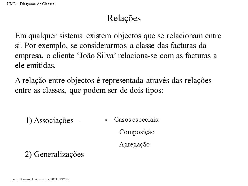 Pedro Ramos, José Farinha, DCTI/ISCTE Associações Uma associação é uma relação que permite especificar que objectos de uma dada classe se relacionam com objectos de outra classe.