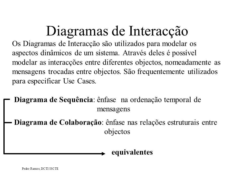 Pedro Ramos, DCTI/ISCTE Exemplo (parcial) de um Diagrama com Acesso a BD (II) UML – Diagramas de Interacção : Requisição db:Biblioteca Actualiza Stock() > Recolhe Dados fr: frmRequisição Recolhe Requisição() Confirma Dados > {transient} > {transient} :DbConnection connect > Bibliotecário : Publicação {transient} Db_act_stock() > A ligação é permanente A ligação das classes ao modelo relacional é analisada com maior detalhe no caso de estudo PhonePizza.