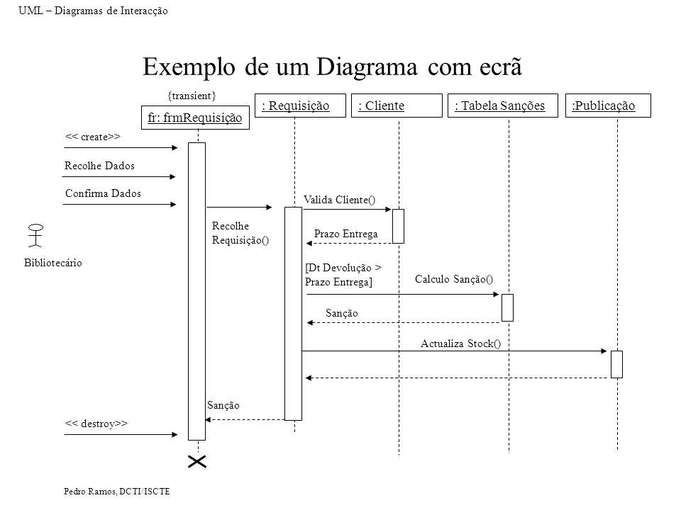 Pedro Ramos, DCTI/ISCTE Exemplo de um Diagrama com ecrã UML – Diagramas de Interacção : Requisição: Cliente:Publicação: Tabela Sanções Bibliotecário V