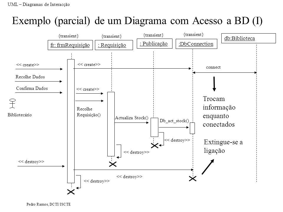 Pedro Ramos, DCTI/ISCTE Exemplo (parcial) de um Diagrama com Acesso a BD (I) UML – Diagramas de Interacção : Requisição db:Biblioteca Actualiza Stock(
