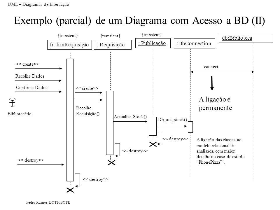 Pedro Ramos, DCTI/ISCTE Exemplo (parcial) de um Diagrama com Acesso a BD (II) UML – Diagramas de Interacção : Requisição db:Biblioteca Actualiza Stock