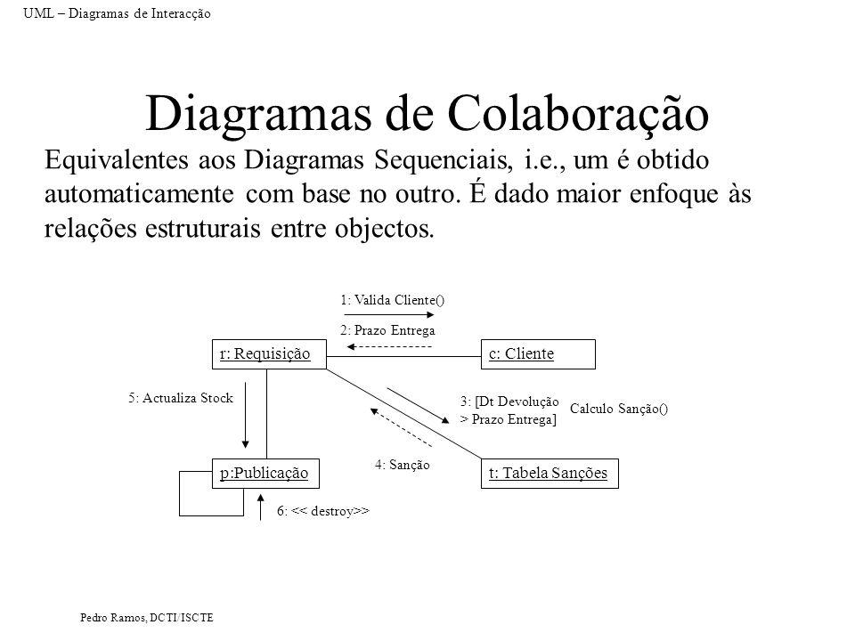 Pedro Ramos, DCTI/ISCTE Diagramas de Colaboração Equivalentes aos Diagramas Sequenciais, i.e., um é obtido automaticamente com base no outro. É dado m