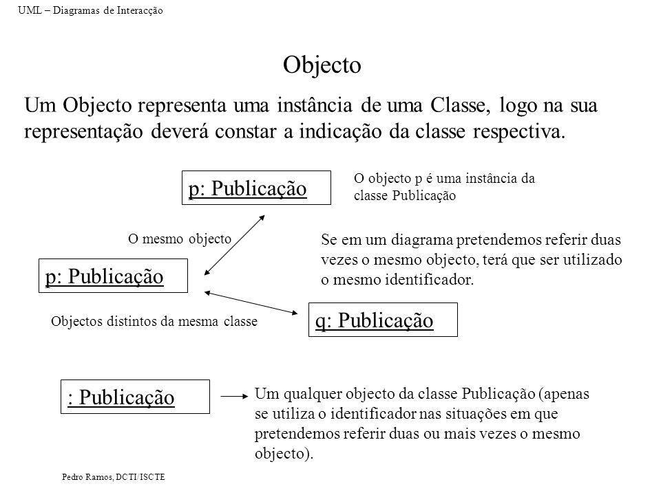 Pedro Ramos, DCTI/ISCTE Objecto Um Objecto representa uma instância de uma Classe, logo na sua representação deverá constar a indicação da classe resp