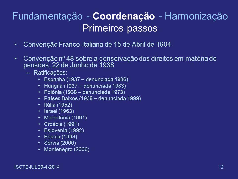 ISCTE-IUL 29-4-201412 Fundamentação - Coordenação - Harmonização Primeiros passos Convenção Franco-Italiana de 15 de Abril de 1904 Convenção nº 48 sob