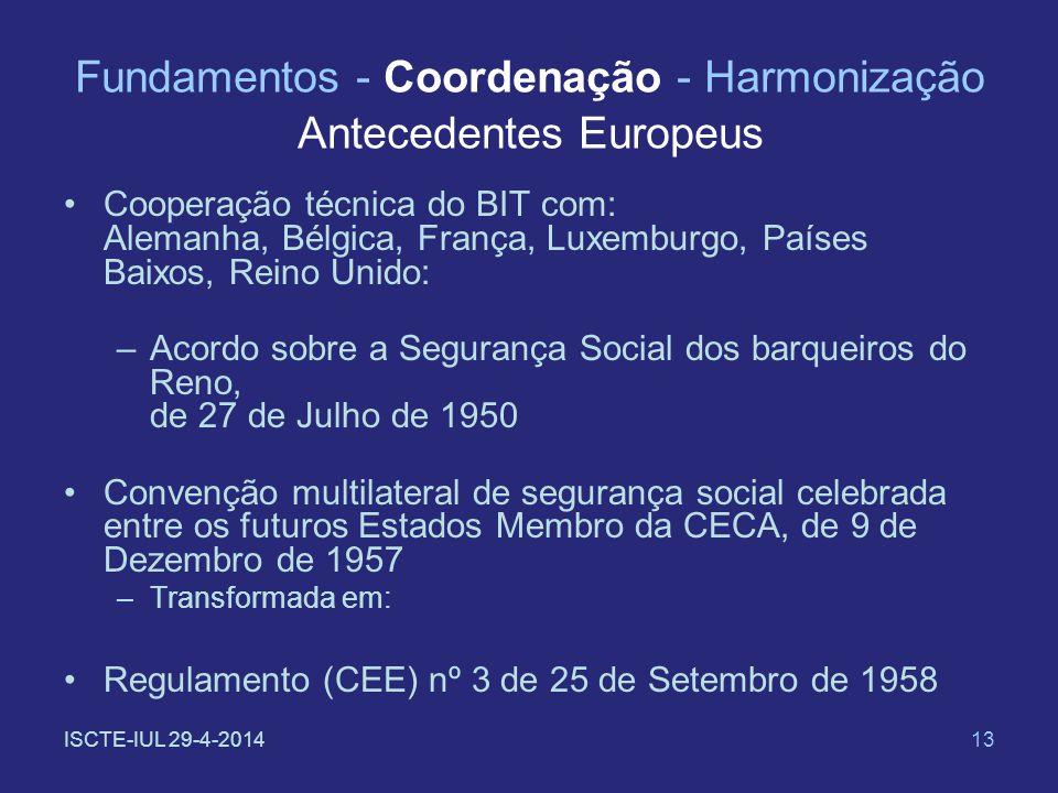 ISCTE-IUL 29-4-201413 Fundamentos - Coordenação - Harmonização Antecedentes Europeus Cooperação técnica do BIT com: Alemanha, Bélgica, França, Luxembu
