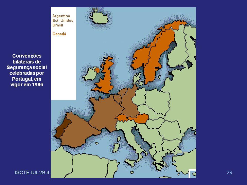 ISCTE-IUL 29-4-201429 Convenções bilaterais de Segurança social celebradas por Portugal, em vigor em 1986