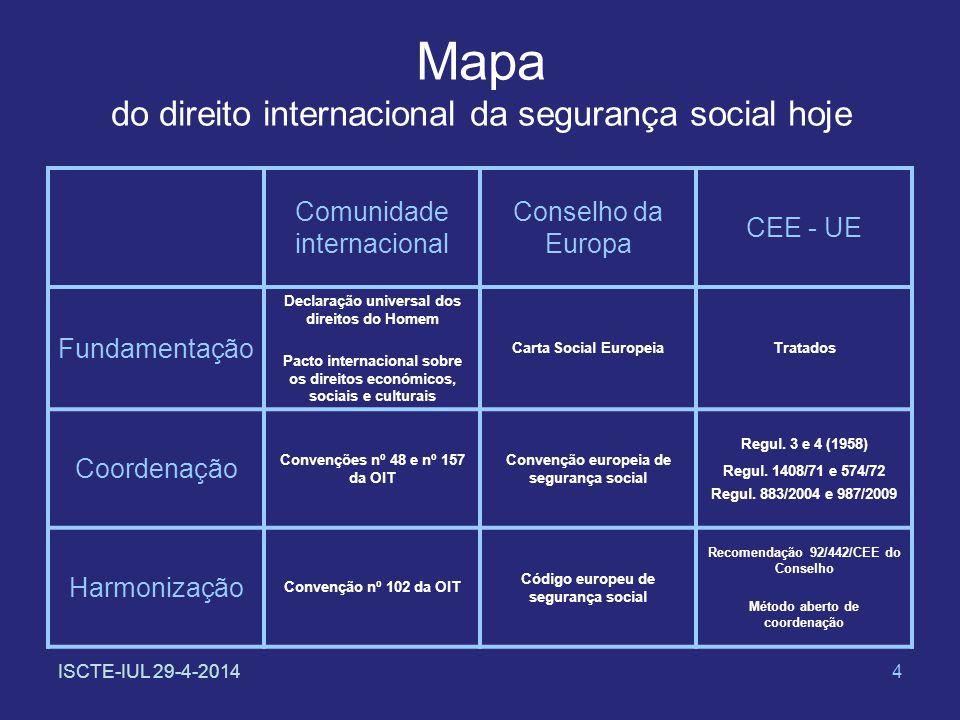 ISCTE-IUL 29-4-20144 Mapa do direito internacional da segurança social hoje Comunidade internacional Conselho da Europa CEE - UE Fundamentação Declara
