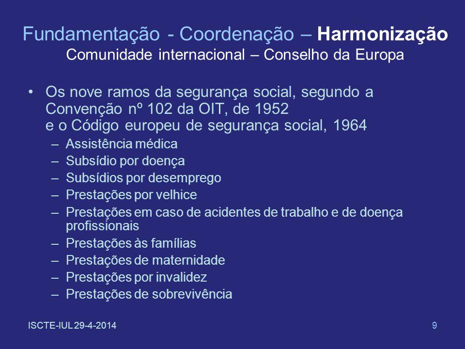 9 Fundamentação - Coordenação – Harmonização Comunidade internacional – Conselho da Europa Os nove ramos da segurança social, segundo a Convenção nº 1