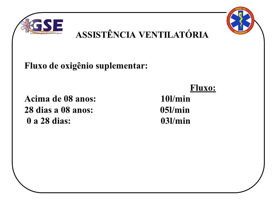 ASSISTÊNCIA VENTILATÓRIA Fluxo de oxigênio suplementar: Fluxo: Acima de 08 anos: 10l/min 28 dias a 08 anos: 05l/min 0 a 28 dias: 03l/min
