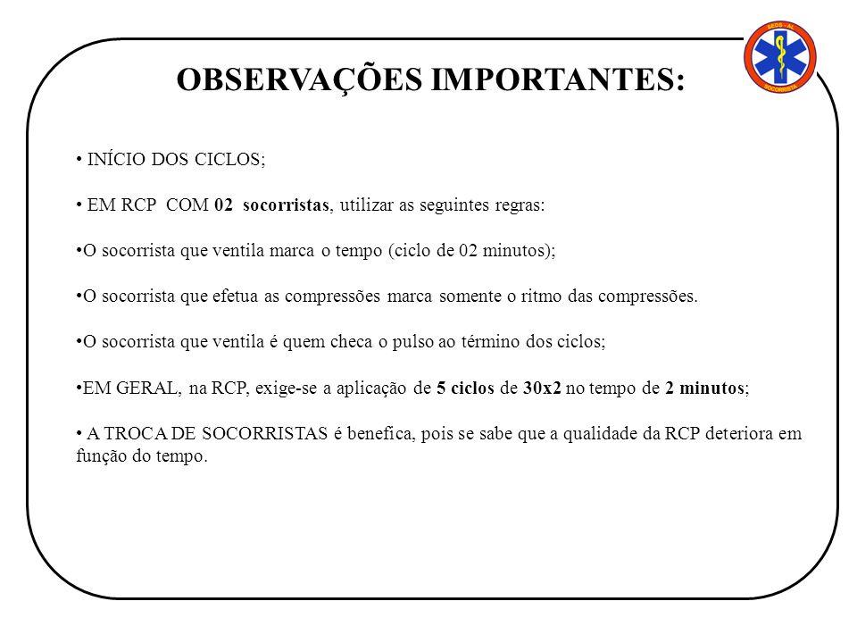 INÍCIO DOS CICLOS; EM RCP COM 02 socorristas, utilizar as seguintes regras: O socorrista que ventila marca o tempo (ciclo de 02 minutos); O socorrista