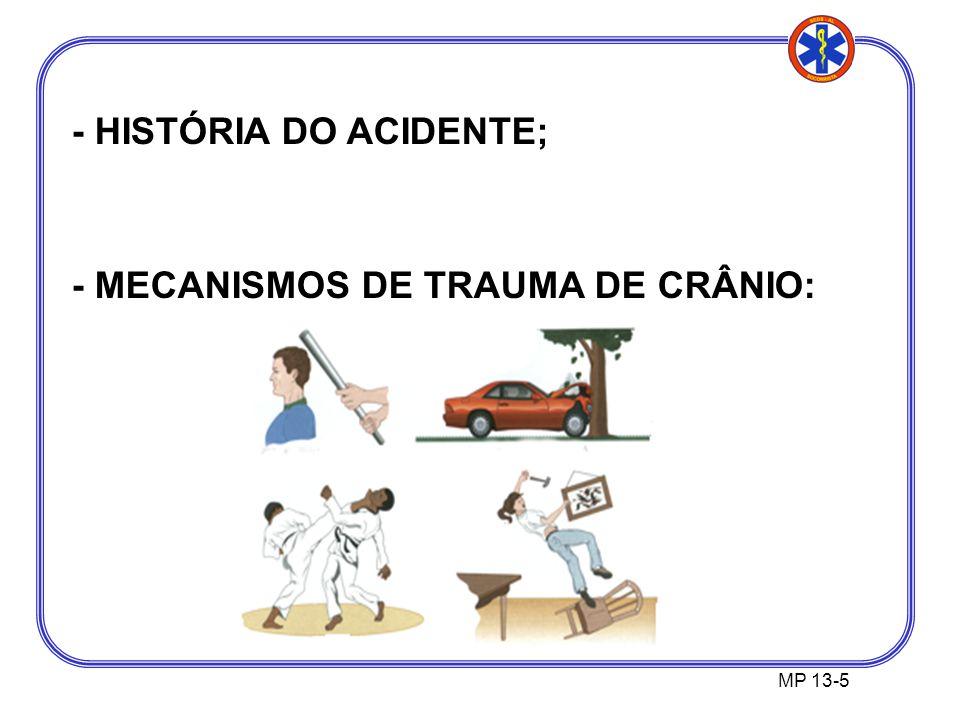 MP 13-5 - HISTÓRIA DO ACIDENTE; - MECANISMOS DE TRAUMA DE CRÂNIO: