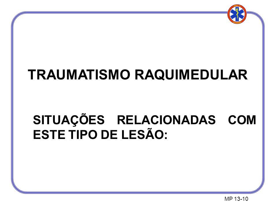 TRAUMATISMO RAQUIMEDULAR SITUAÇÕES RELACIONADAS COM ESTE TIPO DE LESÃO: MP 13-10