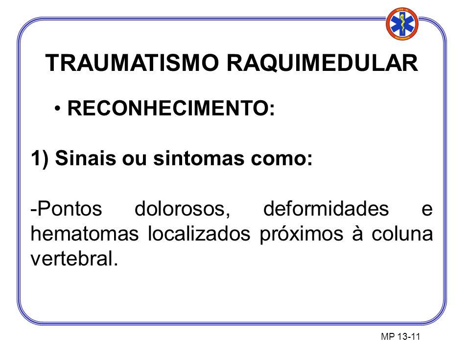 TRAUMATISMO RAQUIMEDULAR RECONHECIMENTO: 1) Sinais ou sintomas como: -Pontos dolorosos, deformidades e hematomas localizados próximos à coluna vertebral.