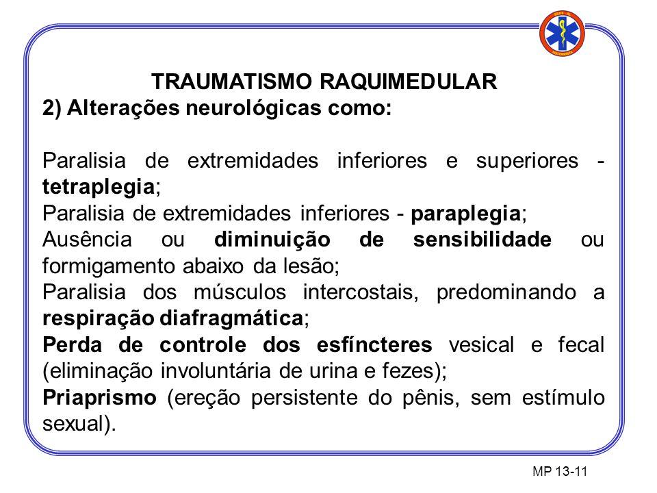 TRAUMATISMO RAQUIMEDULAR 2) Alterações neurológicas como: Paralisia de extremidades inferiores e superiores - tetraplegia; Paralisia de extremidades inferiores - paraplegia; Ausência ou diminuição de sensibilidade ou formigamento abaixo da lesão; Paralisia dos músculos intercostais, predominando a respiração diafragmática; Perda de controle dos esfíncteres vesical e fecal (eliminação involuntária de urina e fezes); Priaprismo (ereção persistente do pênis, sem estímulo sexual).
