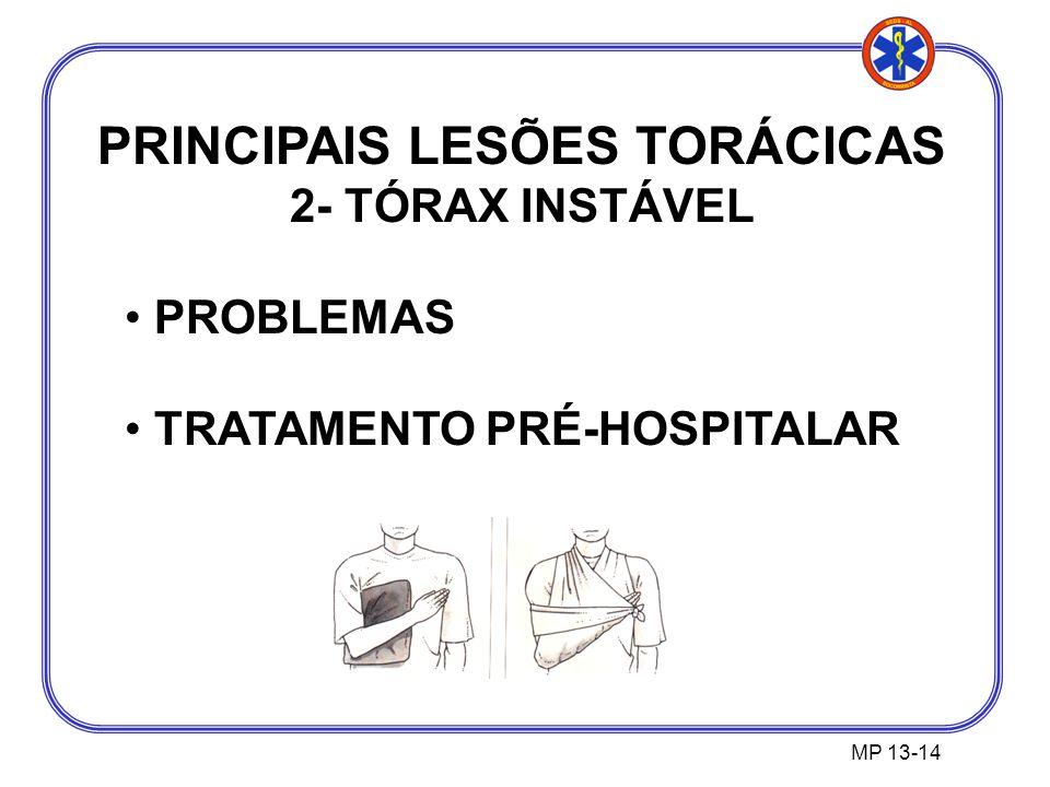 PRINCIPAIS LESÕES TORÁCICAS 2- TÓRAX INSTÁVEL PROBLEMAS TRATAMENTO PRÉ-HOSPITALAR MP 13-14