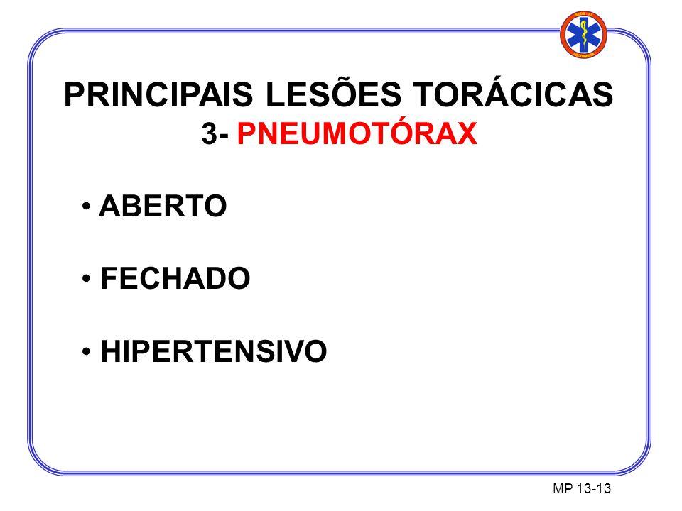 PRINCIPAIS LESÕES TORÁCICAS 3- PNEUMOTÓRAX ABERTO FECHADO HIPERTENSIVO MP 13-13