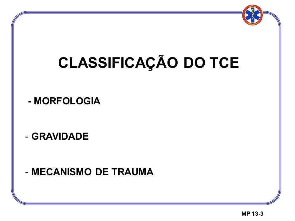 MP 13-3 CLASSIFICAÇÃO DO TCE - MORFOLOGIA - GRAVIDADE - MECANISMO DE TRAUMA