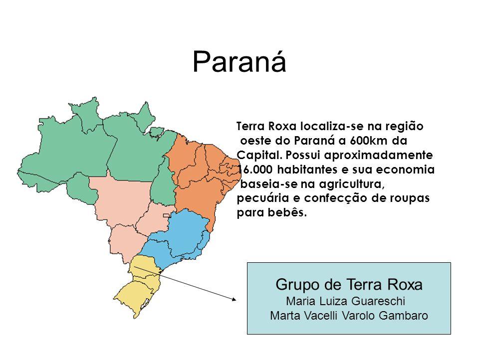 Paraná Grupo de Terra Roxa Maria Luiza Guareschi Marta Vacelli Varolo Gambaro Terra Roxa localiza-se na região oeste do Paraná a 600km da Capital. Pos