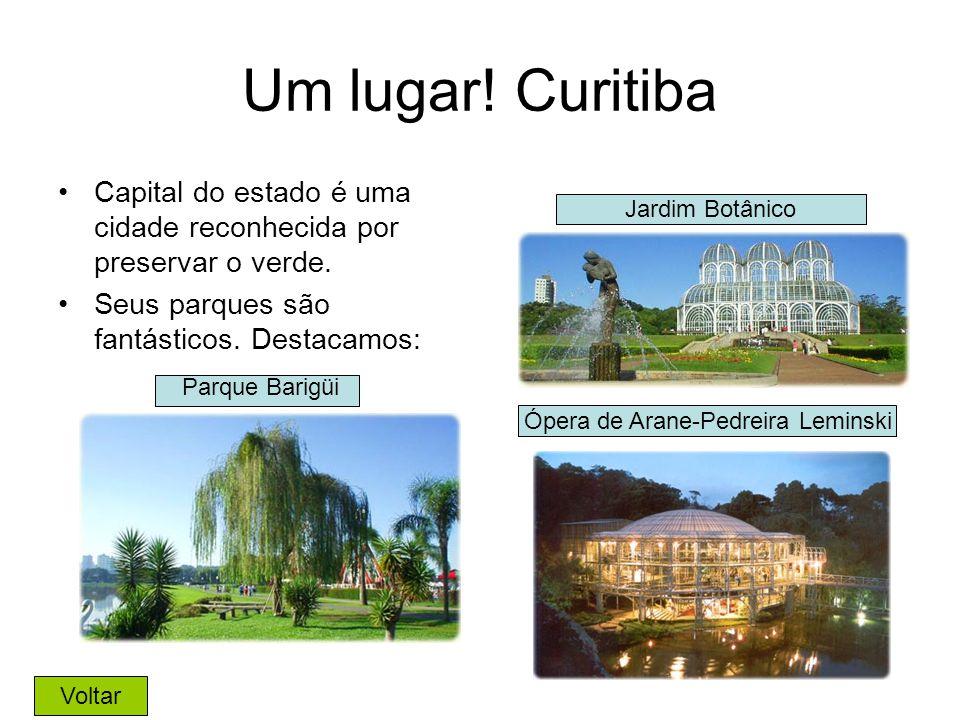Um lugar! Curitiba Capital do estado é uma cidade reconhecida por preservar o verde. Seus parques são fantásticos. Destacamos: Jardim Botânico Parque