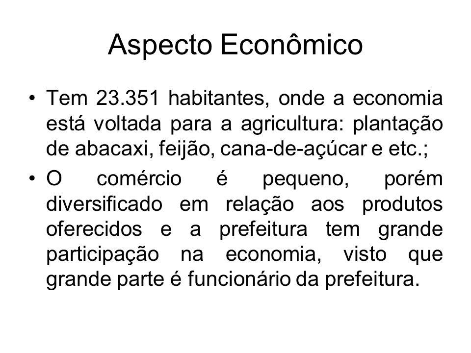 Aspecto Econômico Tem 23.351 habitantes, onde a economia está voltada para a agricultura: plantação de abacaxi, feijão, cana-de-açúcar e etc.; O comér