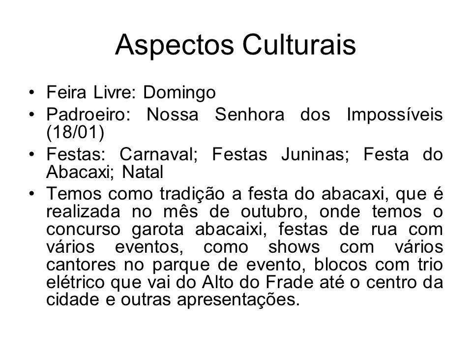 Aspectos Culturais Feira Livre: Domingo Padroeiro: Nossa Senhora dos Impossíveis (18/01) Festas: Carnaval; Festas Juninas; Festa do Abacaxi; Natal Tem
