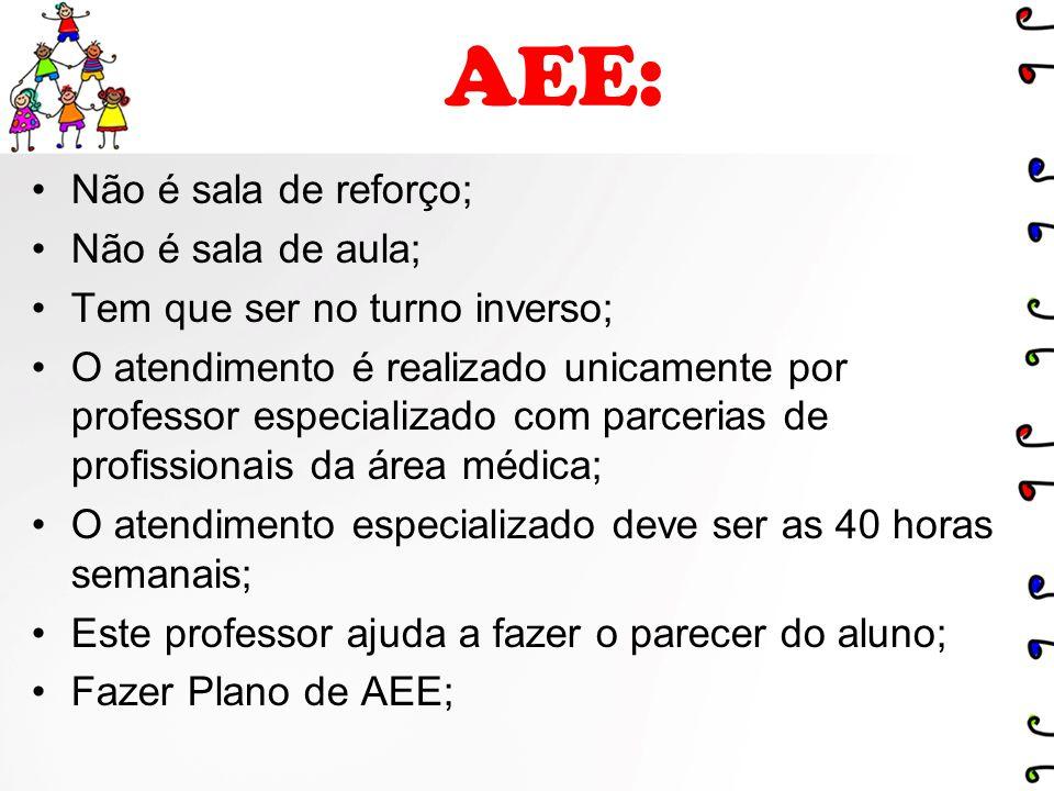 AEE: Não é sala de reforço; Não é sala de aula; Tem que ser no turno inverso; O atendimento é realizado unicamente por professor especializado com par