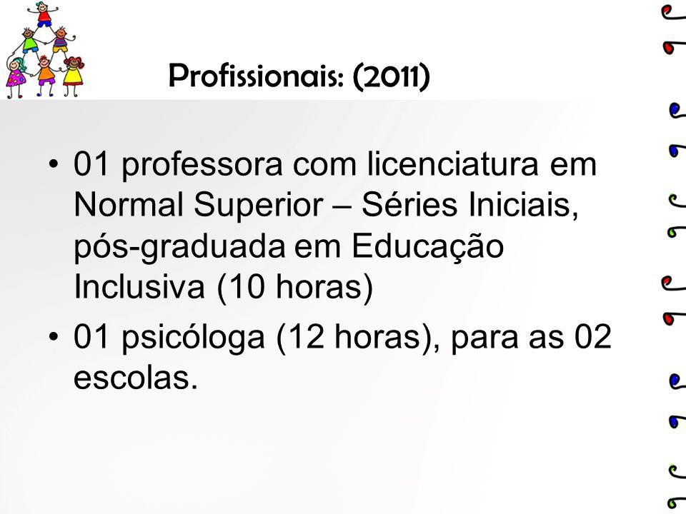 Profissionais: (2011) 01 professora com licenciatura em Normal Superior – Séries Iniciais, pós-graduada em Educação Inclusiva (10 horas) 01 psicóloga (12 horas), para as 02 escolas.