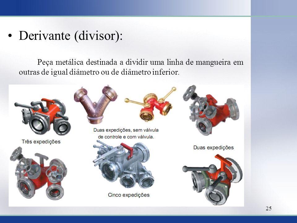 Derivante (divisor): Peça metálica destinada a dividir uma linha de mangueira em outras de igual diâmetro ou de diâmetro inferior.