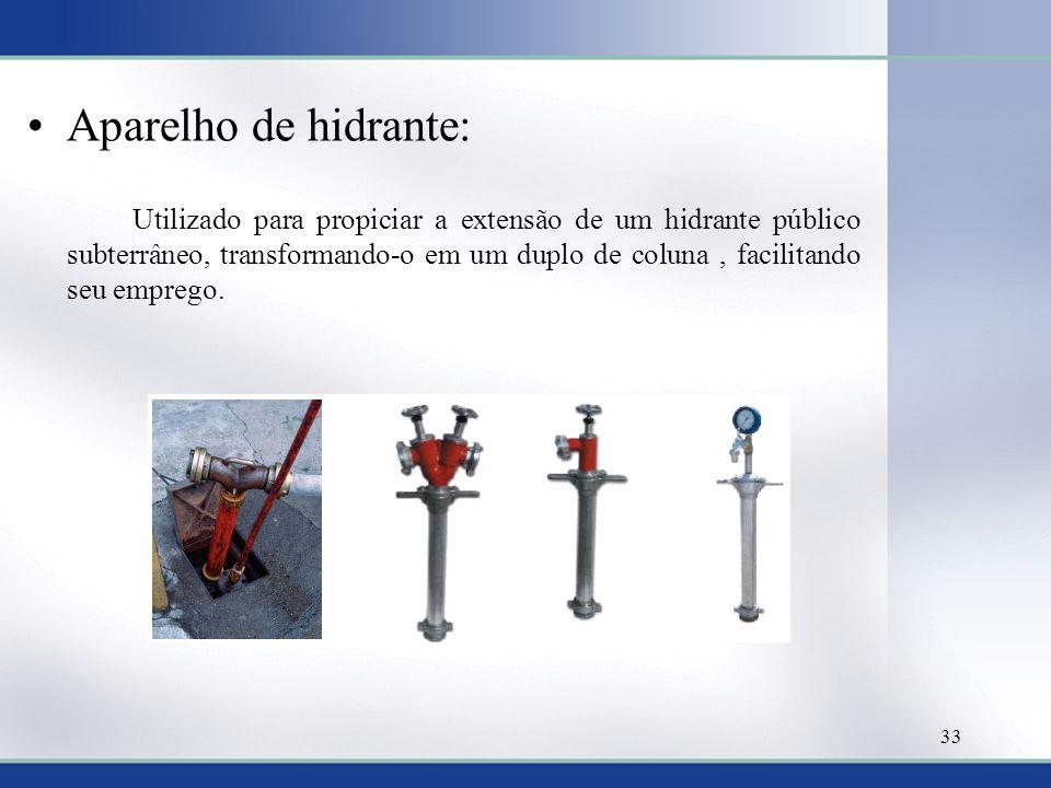 Aparelho de hidrante: Utilizado para propiciar a extensão de um hidrante público subterrâneo, transformando-o em um duplo de coluna, facilitando seu emprego.
