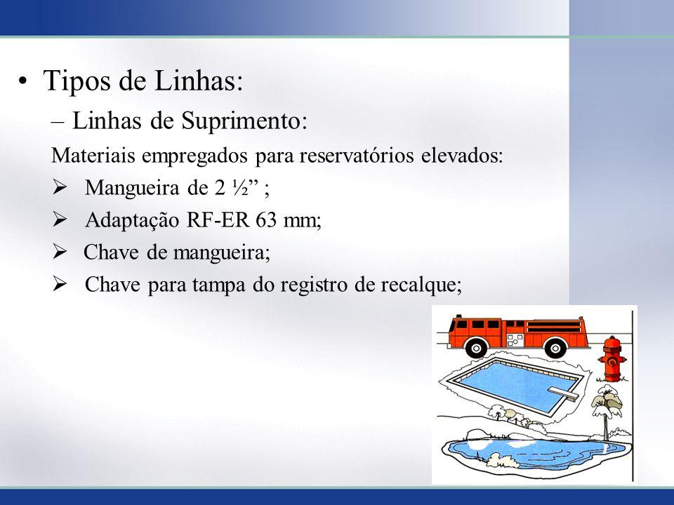 Tipos de Linhas: –Linhas de Suprimento: Materiais empregados para reservatórios elevados: Mangueira de 2 ½ ; Adaptação RF-ER 63 mm; Chave de mangueira