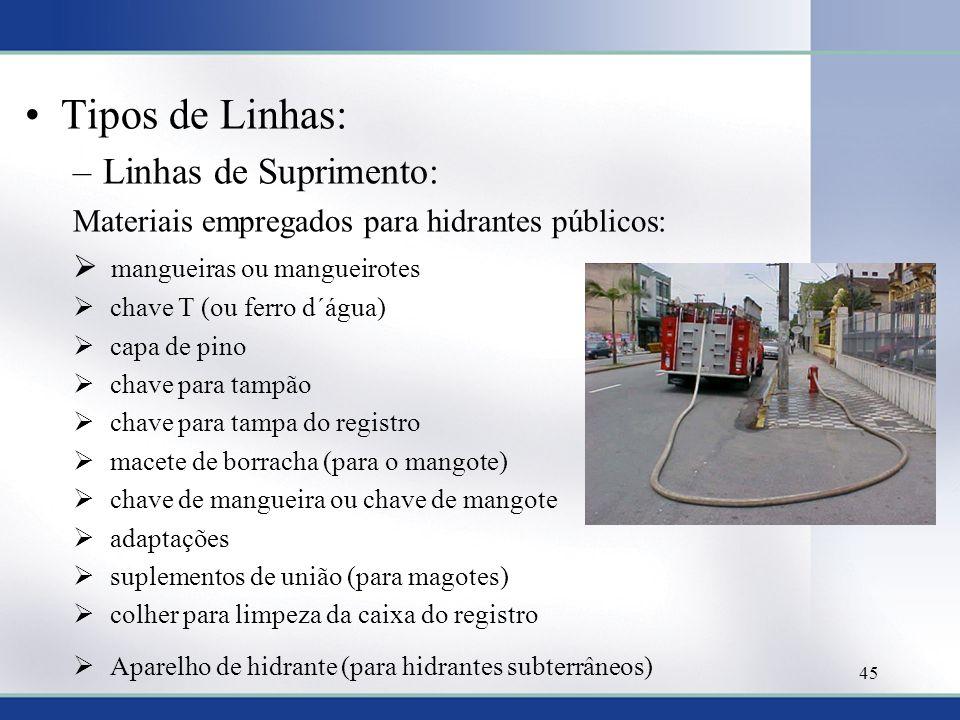 Tipos de Linhas: –Linhas de Suprimento: Materiais empregados para hidrantes públicos: mangueiras ou mangueirotes chave T (ou ferro d´água) capa de pin
