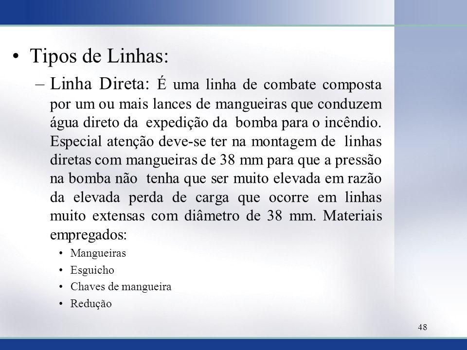 Tipos de Linhas: –Linha Direta: É uma linha de combate composta por um ou mais lances de mangueiras que conduzem água direto da expedição da bomba par