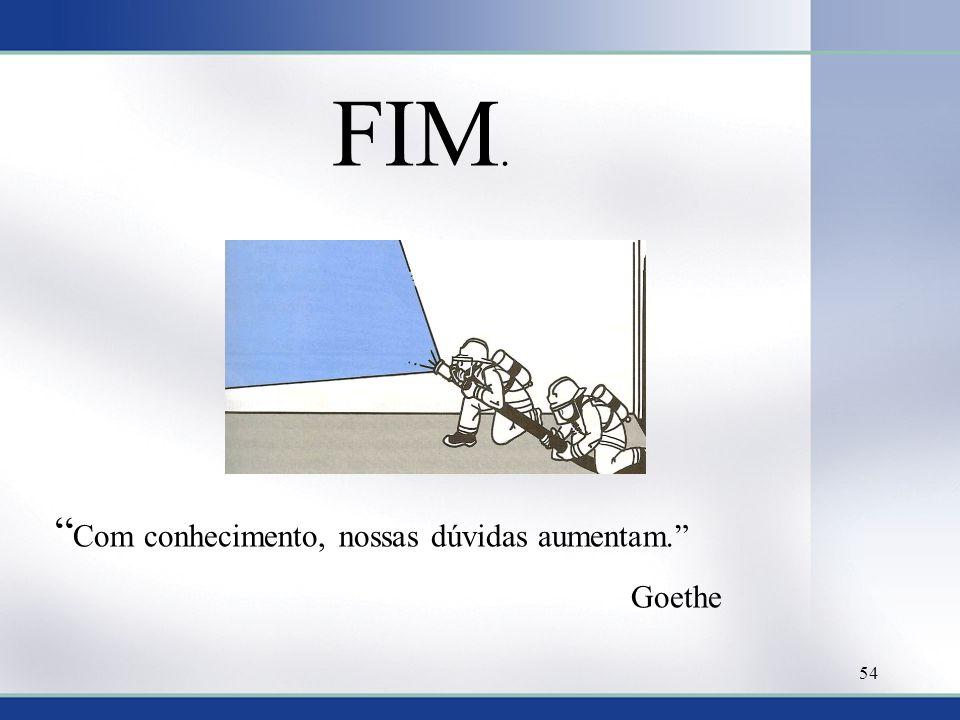 FIM. Com conhecimento, nossas dúvidas aumentam. Goethe 54
