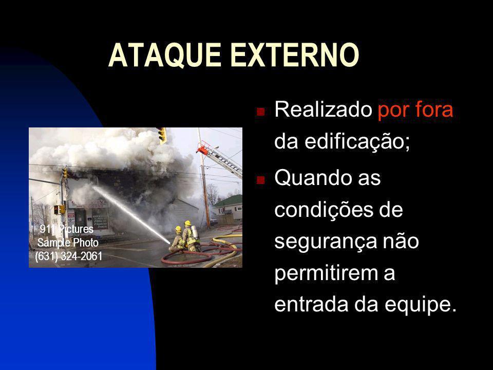 ATAQUE INTERNO Realizado dentro da edificação; quando as condições de segurança permitirem; usado, principalmente, no ataque ao foco principal do incêndio.