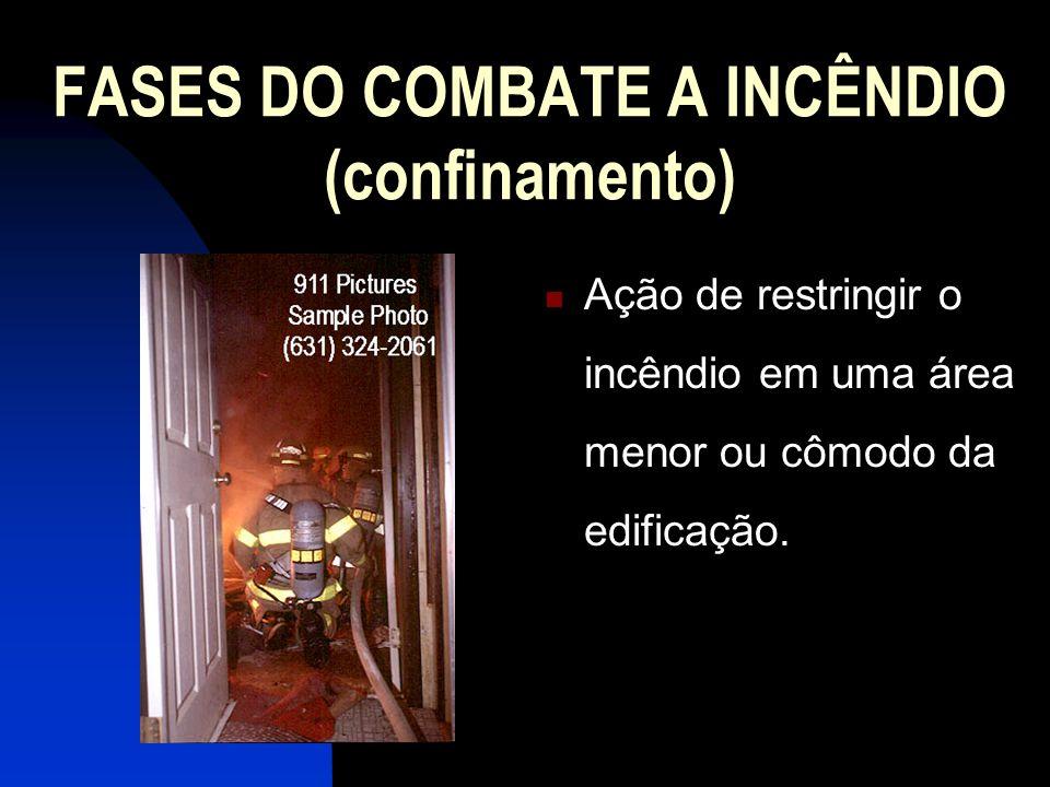 FASES DO COMBATE A INCÊNDIO (confinamento) Ação de restringir o incêndio em uma área menor ou cômodo da edificação.