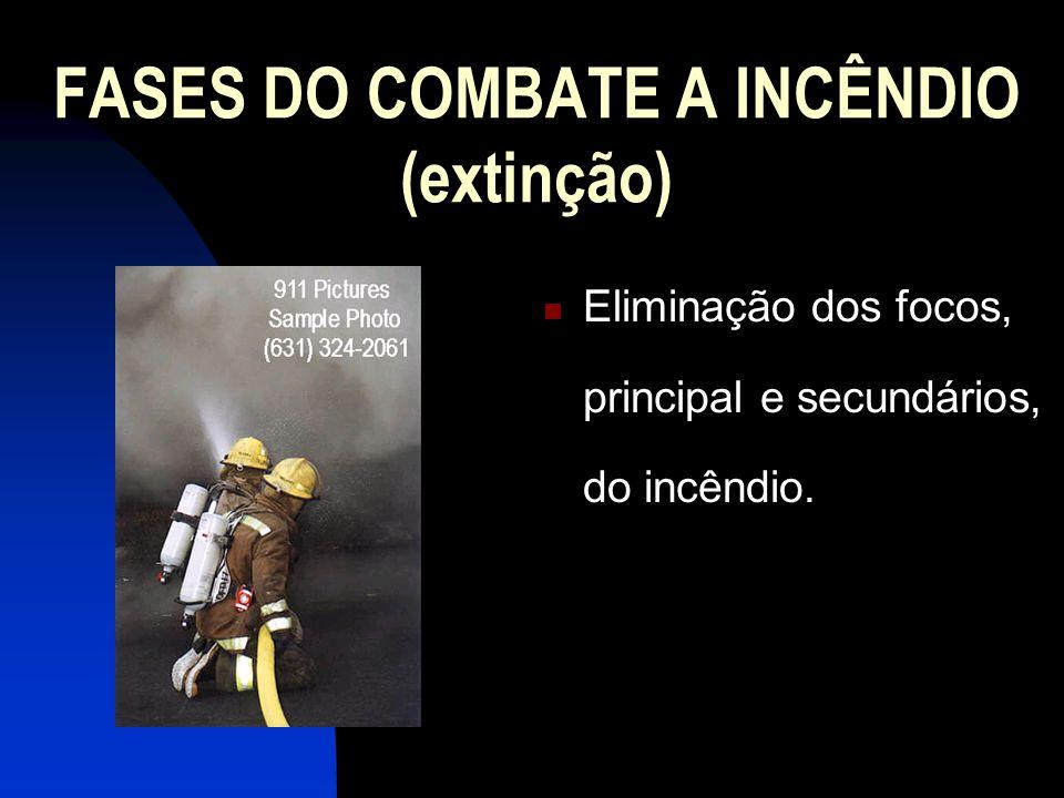 FASES DO COMBATE A INCÊNDIO (extinção) Eliminação dos focos, principal e secundários, do incêndio.
