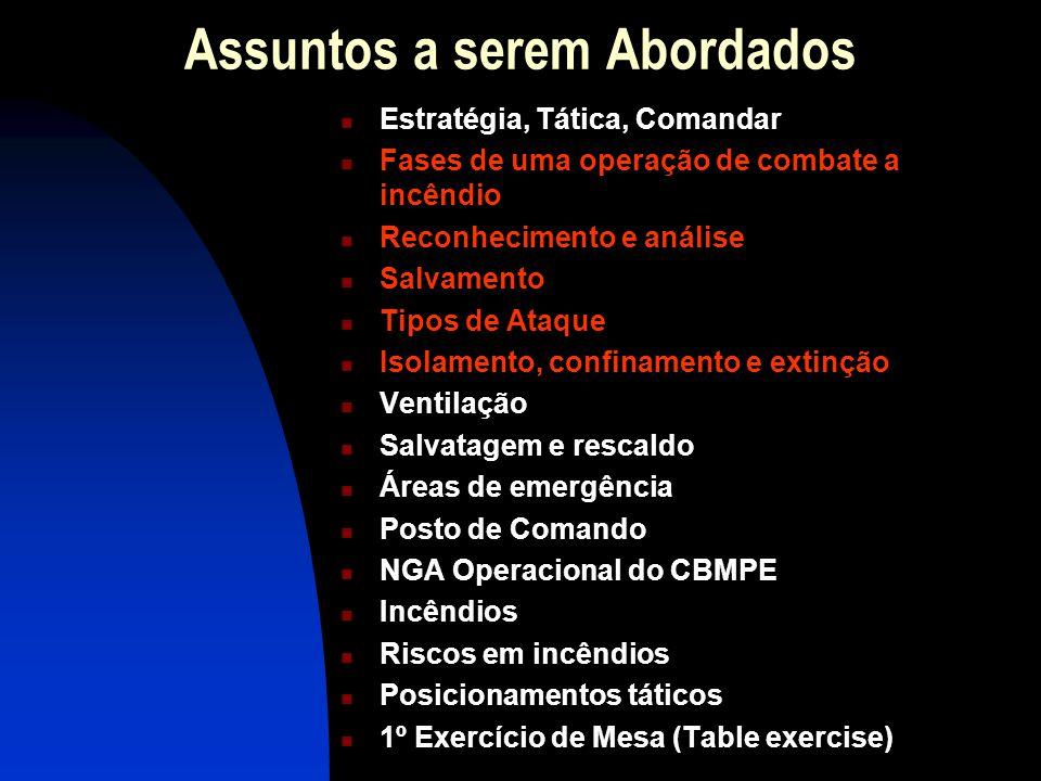 FASES DE UMA OPERAÇÃO DESLOCAMENTO; RECONHECIMENTO / ANÁLISE – ESTACIONAMENTO E ISOLAMENTO DE ÁREA; SALVAMENTO; ISOLAMENTO; CONFINAMENTO; EXTINÇÃO / ATAQUE – VENTILAÇÃO; RESCALDO; RETORNO.