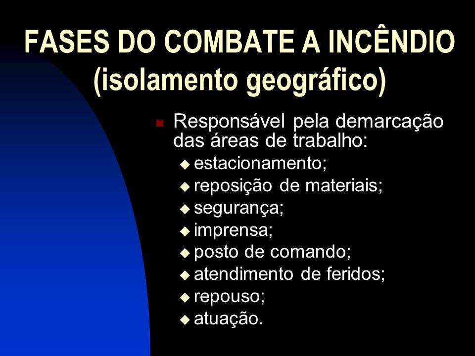FASES DO COMBATE A INCÊNDIO (isolamento geográfico) Responsável pela demarcação das áreas de trabalho: estacionamento; reposição de materiais; seguran
