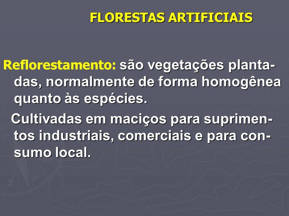 FLORESTAS ARTIFICIAIS são vegetações planta- das, normalmente de forma homogênea quanto às espécies. Reflorestamento: são vegetações planta- das, norm