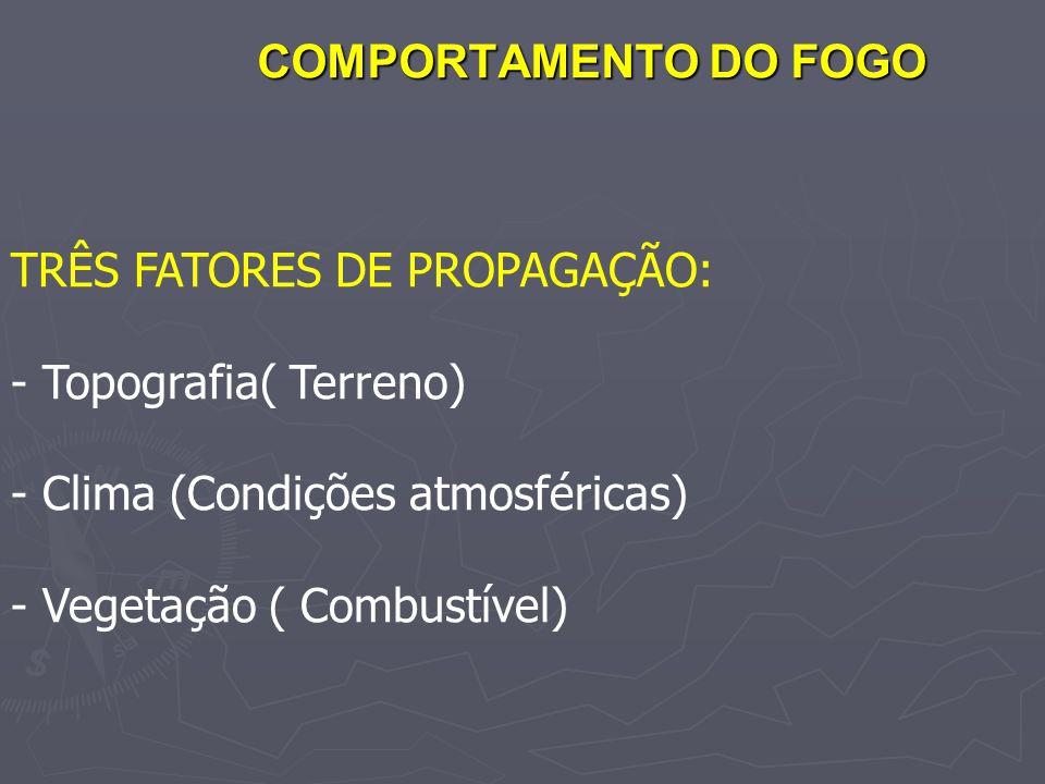COMPORTAMENTO DO FOGO TRÊS FATORES DE PROPAGAÇÃO: - Topografia( Terreno) - Clima (Condições atmosféricas) - Vegetação ( Combustível)